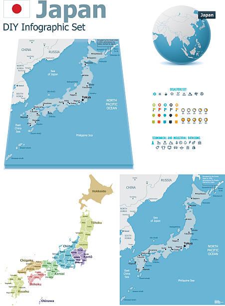 일본 표시맵, 인덱스 - 정치와 정부 stock illustrations