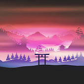Japan, mountains in fog Torii gate, temple in the background