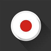 Japan national flag on dark background. Vector illustration.