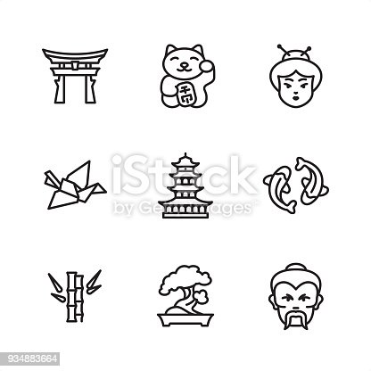 Japanese culture theme related icon set.  9 Outline style black and white icons / Set #01 Pixel Perfect Principle - all the icons are designed in 64x64 px grid, outline stroke 2 px.  CONTENT BY ROWS  First row of outline icons contains:  Shinto, Maneki neko (Beckoning cat), Japanese woman.  Second row contains:  Origami Crane, Pagoda, Koi carp.  Third row contains:  Bamboo, Bonsai Tree, Sensei.  Complete Outline 3x3 PRO collection - https://www.istockphoto.com/collaboration/boards/hyo8kGplAEWxASfzDWET0Q