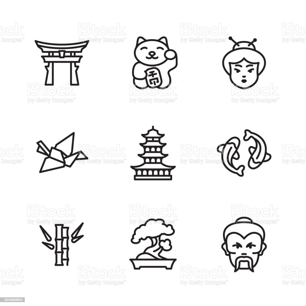 Japan - Pixel Perfect icons vector art illustration