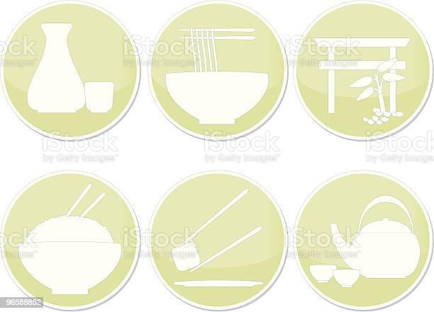 Ícones De Restaurante Japonês - Arte vetorial de stock e mais imagens de Arroz - Alimento Básico