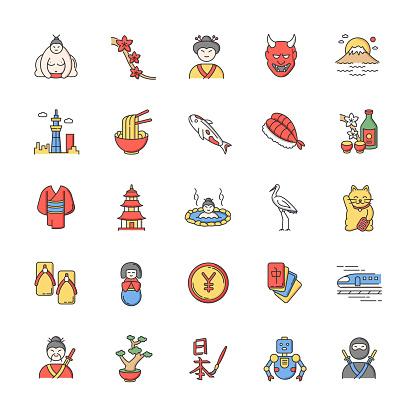Japan RGB color icons set. Koi carp. Ramen and sushi. Sake drink. Ninja and samurai. Crane bird. Asian souvenirs. Traditional japanese symbols. Isolated vector illustrations