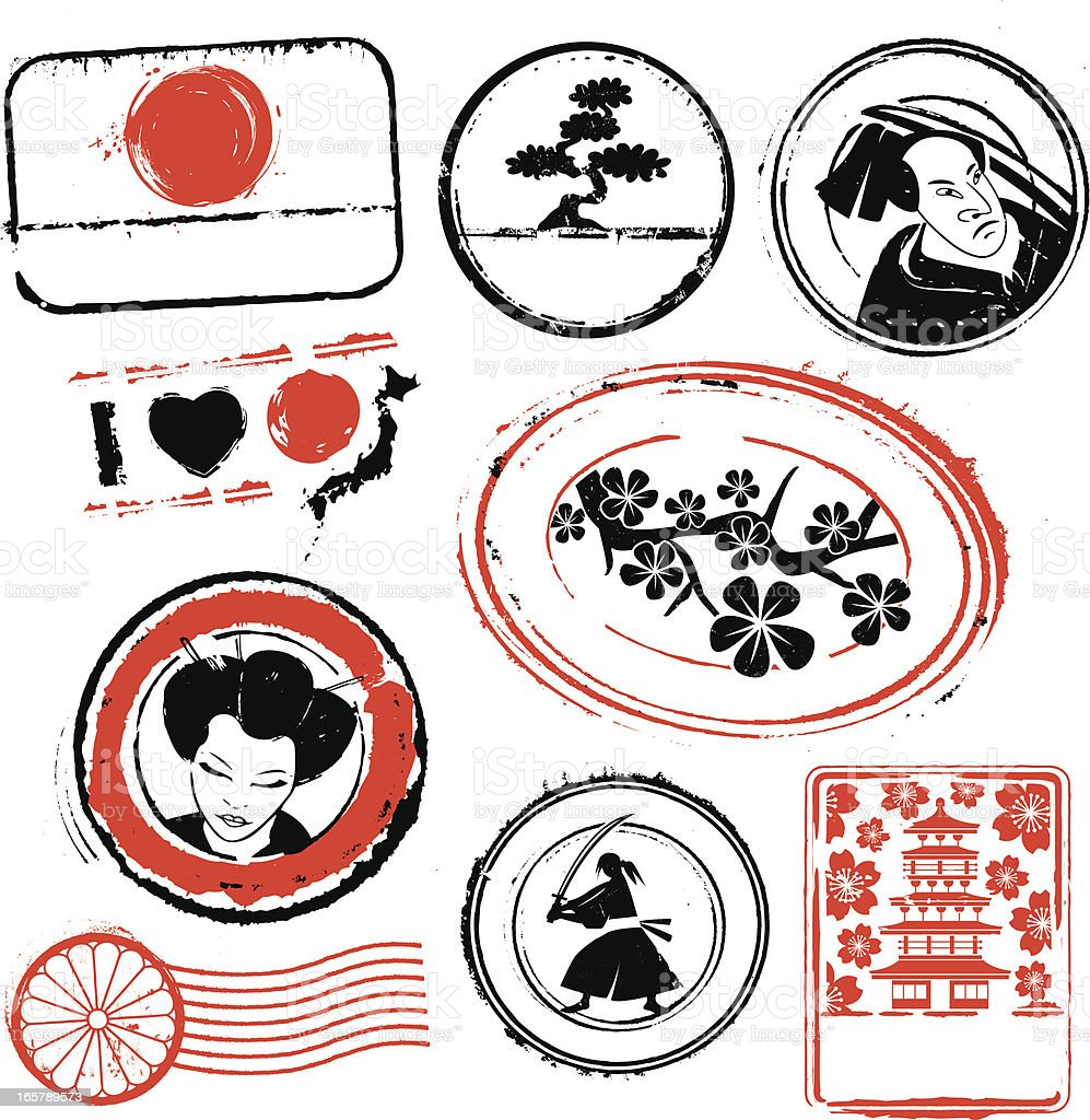 Japan Rubber Stamps royalty-free japan rubber stamps stock vector art & more images of bonsai tree