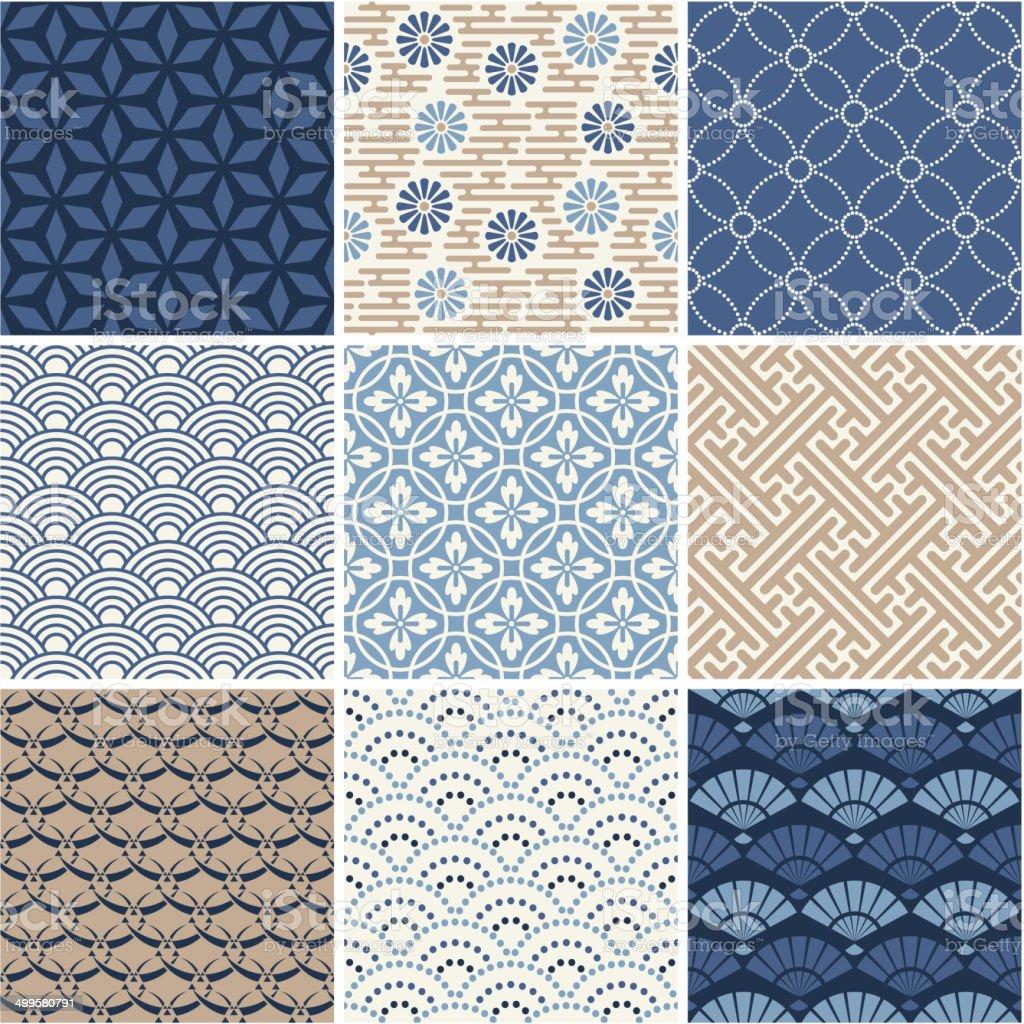 Japan seamless patterns set vector art illustration