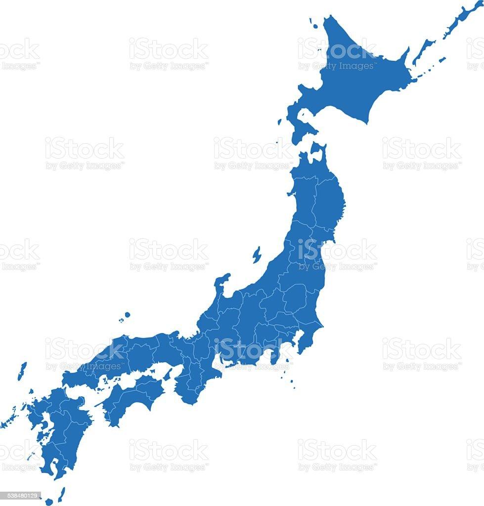 Japan simple blue map on white background vector art illustration