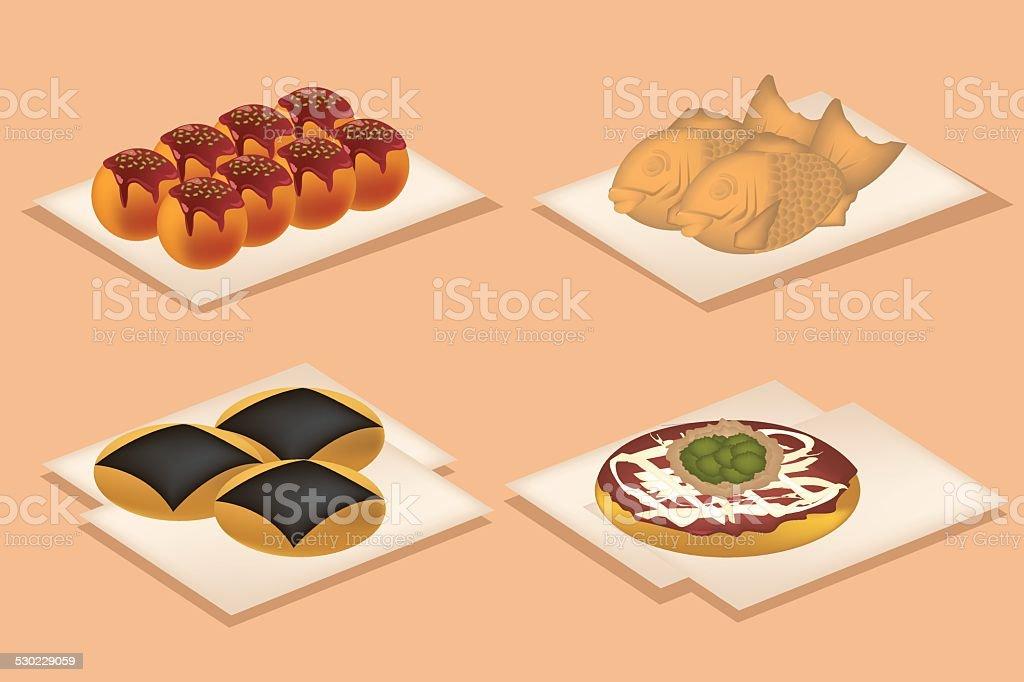 Japan snack food. vector art illustration