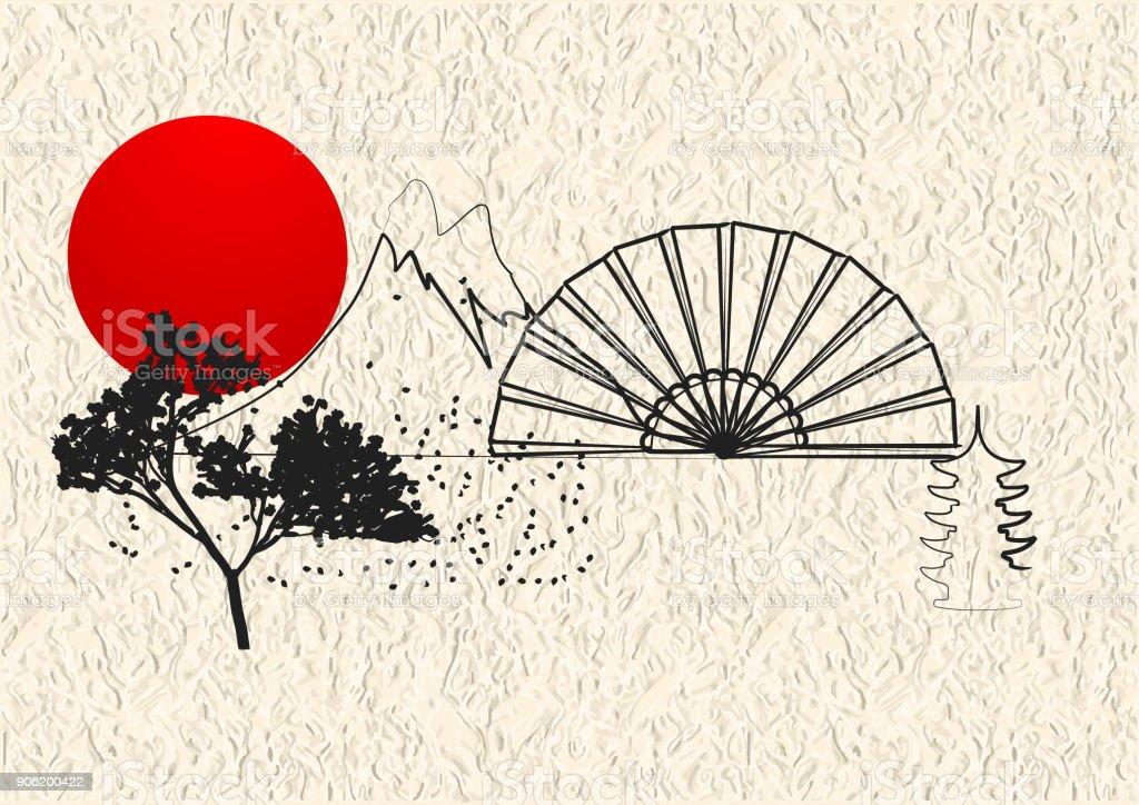 Japan style element vector art illustration