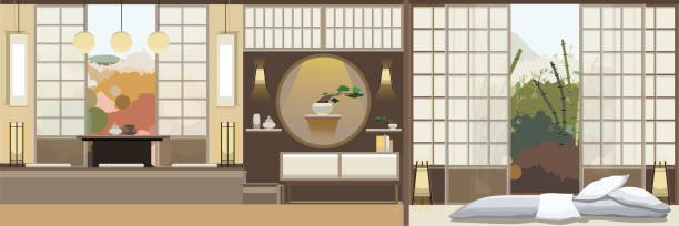 Japan style living room with furniture vector art illustration