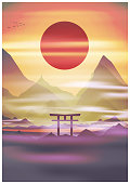 Japan, sunrise mountains in fog Torii gate, temple in the background