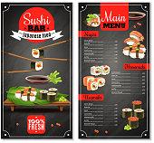 Sushi bar menu with label, chopsticks, price list for nigiri, maki on black background isolated vector illustration