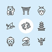"Japan / 9 Outline style Pixel Perfect icons / Set #11  First row of outline icons contains:  Maneki neko (Beckoning cat), Shinto, Japanese woman.  Second row contains:  Origami Crane, Koi carp, Pagoda.  Third row contains:  Sensei, Bonsai Tree, Bamboo.   Pixel Perfect Principle - all the icons are designed in 64x64px grid, outline stroke 2px. Complete ""Outline 3x3 Blue"" collection - https://www.istockphoto.com/collaboration/boards/eKCvfOhp3E-XZOE0AIzWqg"