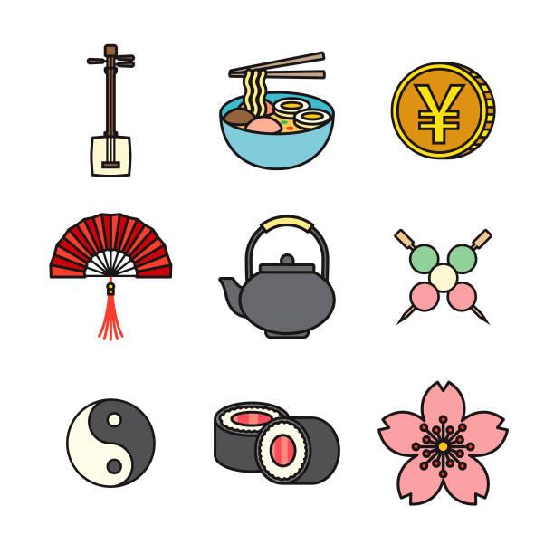 japan thin line icon set - thin line fonts stock illustrations