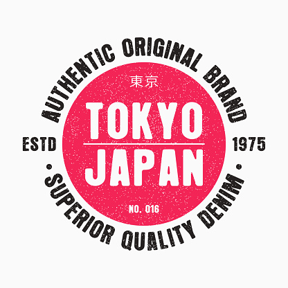 Japan, Tokyo typography graphic for t-shirt design. Tee shirt print, original apparel with grunge. Vector