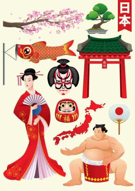 traditionellen zeichensatz japan - sumo stock-grafiken, -clipart, -cartoons und -symbole