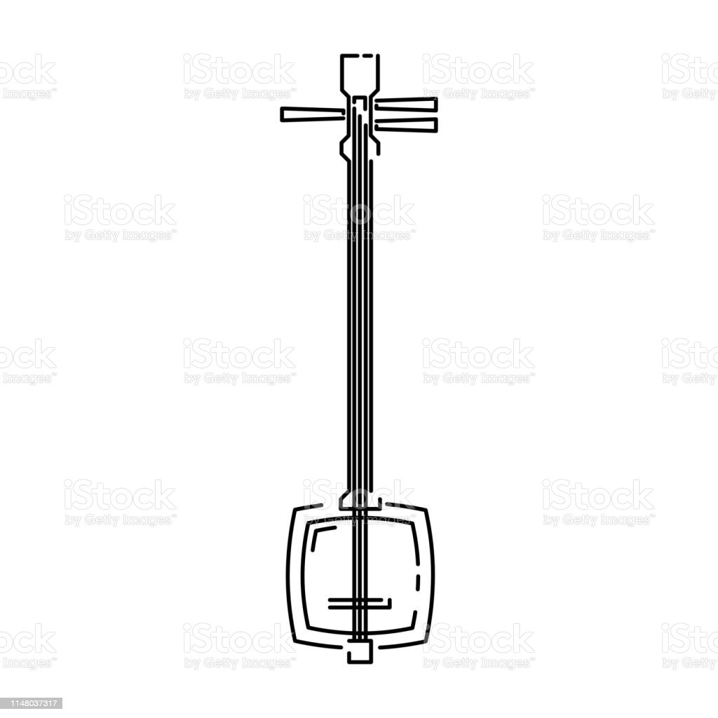 Japan Traditional Music Instrument Shamisen Vector Illustration Simplified Travel Icon Ritual Shrine Music Chinese Asian Traditional Symbol Line Sketch Realistic Element Design Fabric Print Stock Illustration Download Image Now Istock