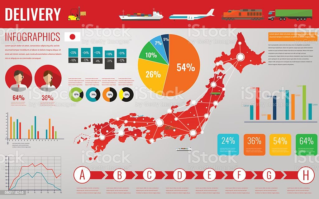 Japan transportation and logistics. Delivery and shipping infographic elements. Vector - ilustración de arte vectorial