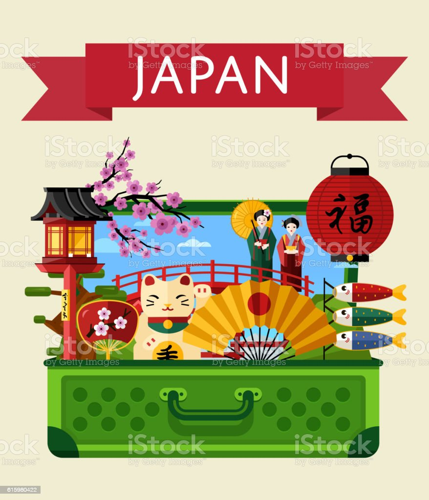 Vetores De Japan Travel Banner With Famous Attractions E Mais Imagens De Arcaico Istock