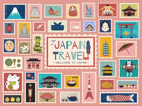 Japan Travel concept stamp