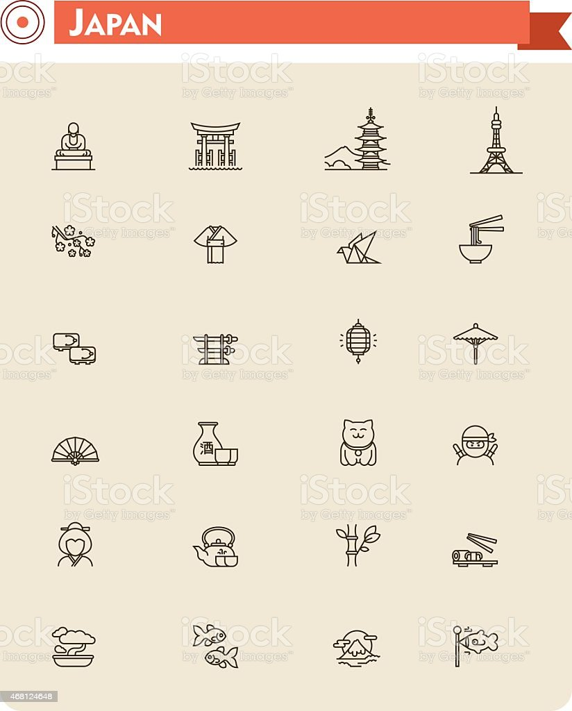 Japan travel icon set vector art illustration