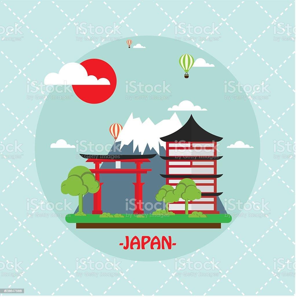 Vetores De Japan Travel Landmark Vector Illustration E Mais Imagens De Abstrato Istock