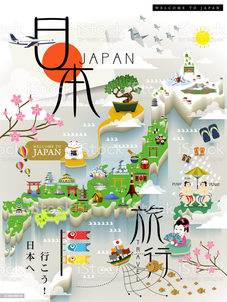 Japan Travel Map Stock Vector Art IStock - Japan map vector art