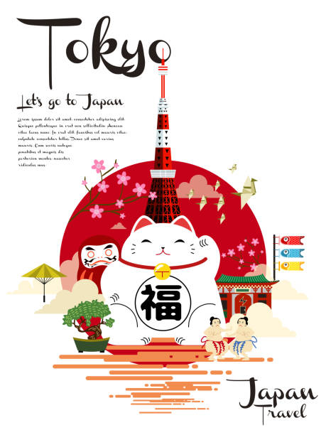 Japan travel poster Japan travel poster with lovely lucky cat and tokyo tower tokyo stock illustrations