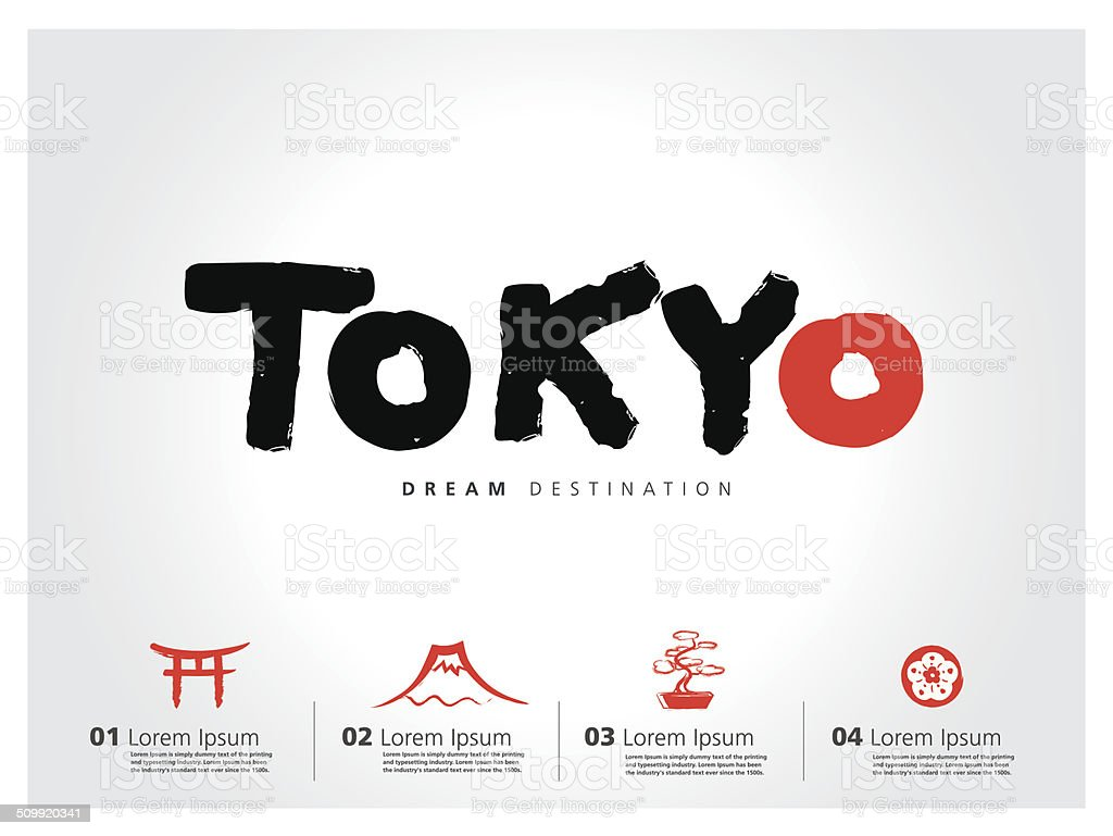 Japan travel set, Fuji Mountain,Tokyo, typography vector art illustration