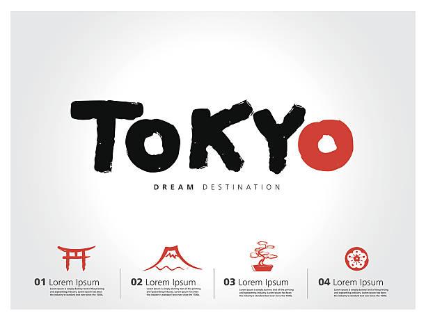 ilustrações de stock, clip art, desenhos animados e ícones de japão conjunto de viagem, fuji de montanha, tóquio, tipografia - japanese font