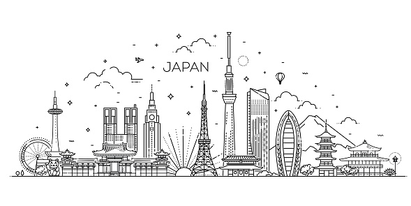 Japan vacation icons set. Vector icons
