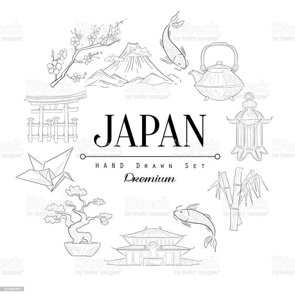 Japan Vintage Sketch vector art illustration