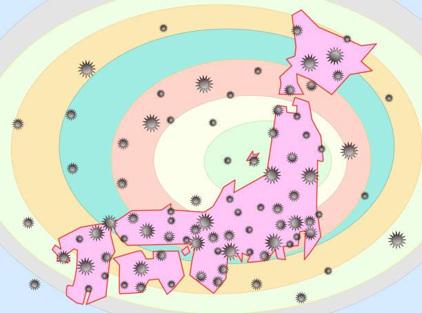 japan virus – artystyczna grafika wektorowa