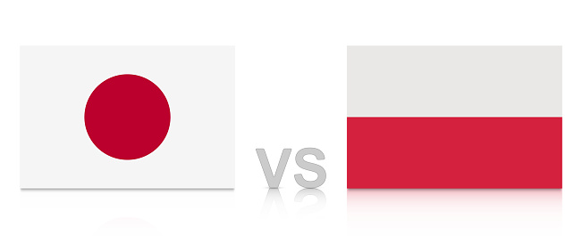Japan vs. Poland. Russia 2018. National flags with reflection isolated on white background.