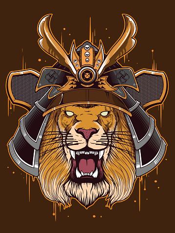 japan warrior with lion head