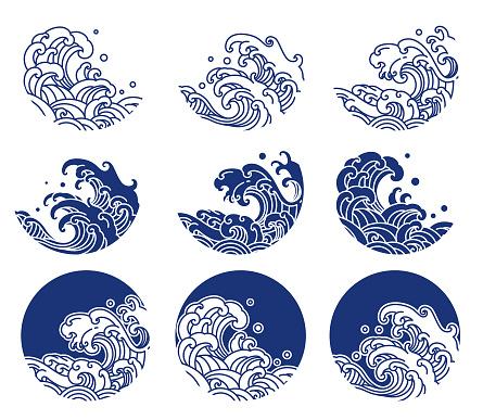 Japan water and ocean wave line logo illustration