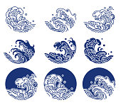 Water and ocean wave line logo illustration. Blue print and indigo color. - Vector.