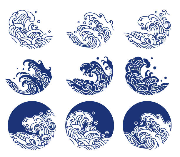 illustrazioni stock, clip art, cartoni animati e icone di tendenza di japan water and ocean wave line logo illustration - giappone
