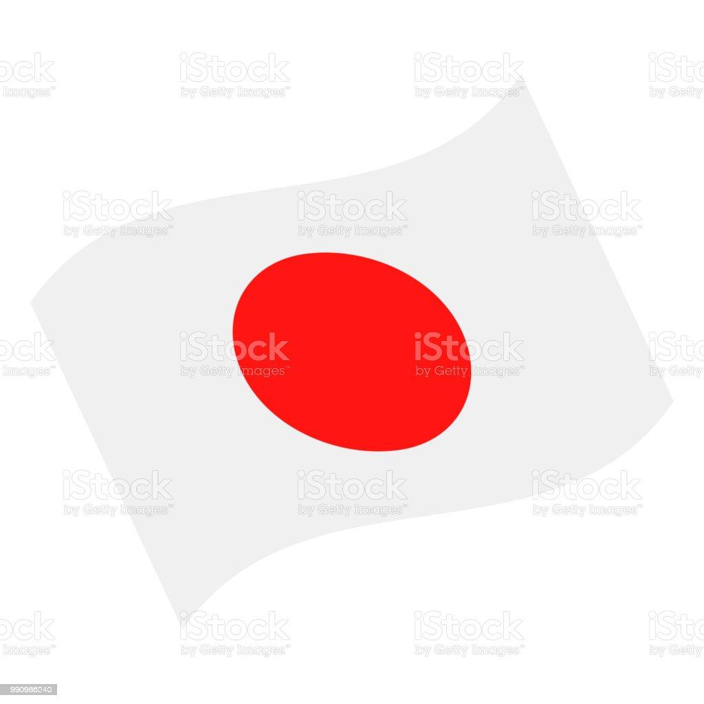 Japón - agitando bandera Vector icono plana - ilustración de arte vectorial