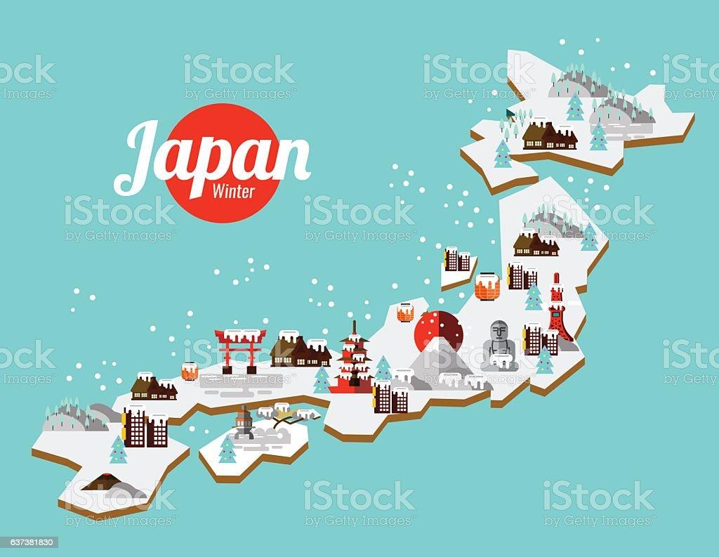 Japan Winter landmark and travel map. ベクターアートイラスト