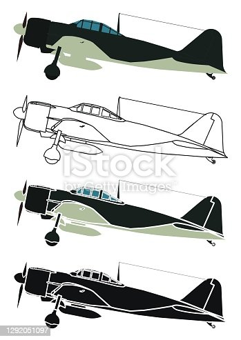 istock Japan Zero airplane in Right view 1292051097