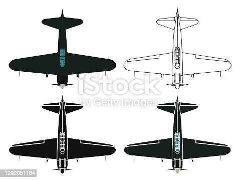 istock Japan Zero airplane in top view 1292051184