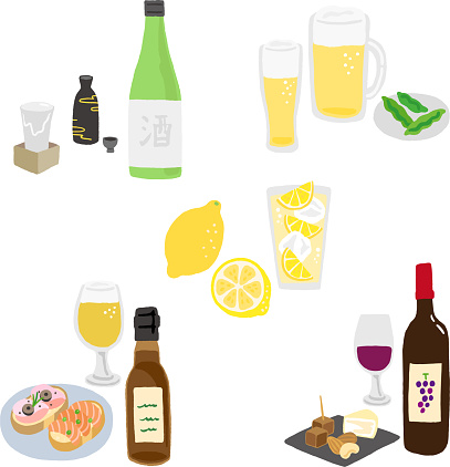 japanese alcoholic drink set and food