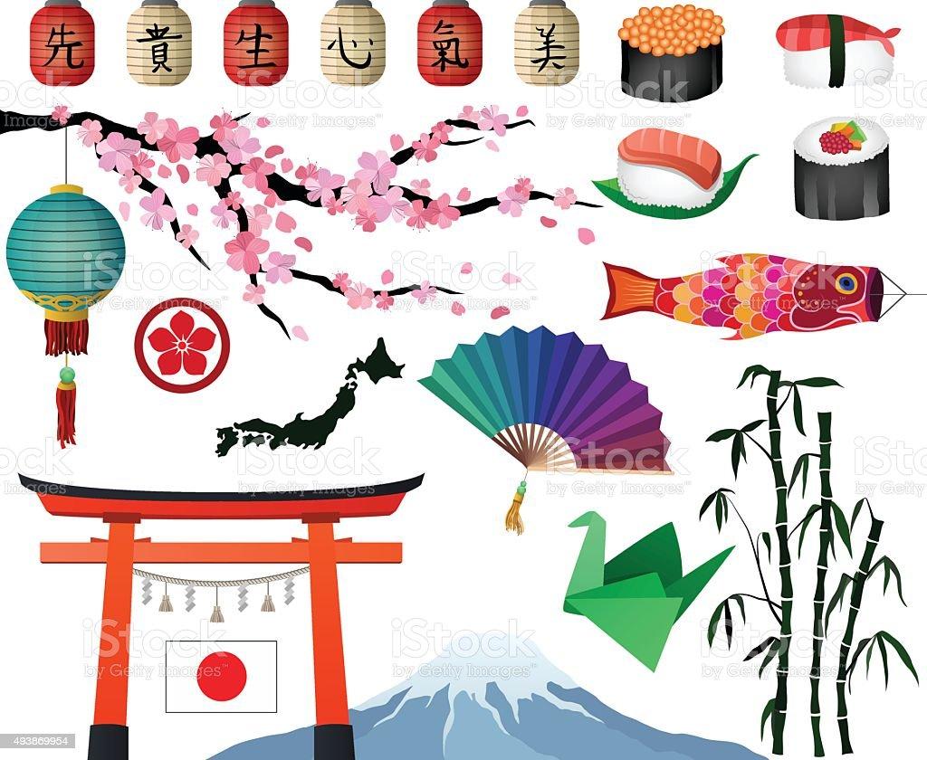 Japanese and Asian Design Elements Vector Set vector art illustration