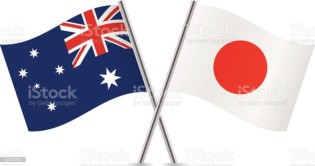 Banderas de Japón y Australia.  Vector. - ilustración de arte vectorial
