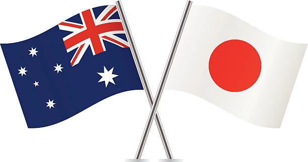 ilustraciones, imágenes clip art, dibujos animados e iconos de stock de banderas de japón y australia.  vector. - bandera japonesa