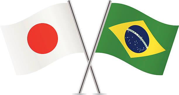 japanische und brasilianische flagge.   vektor. - flagge japan stock-grafiken, -clipart, -cartoons und -symbole