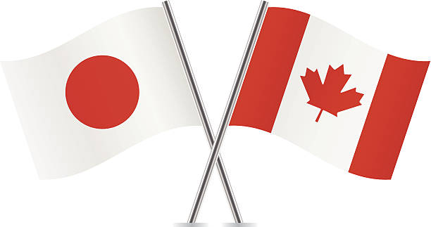Japanese and Canadian flags. Vector. vector art illustration