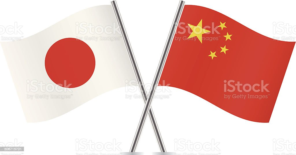 Japanese and Chinese flags. Vector. vector art illustration