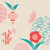 Floral frame. Japanese pattern. Floral celebration in Chinese graphics style. Invitation card with geometric symbols. Asian background. Retro style.