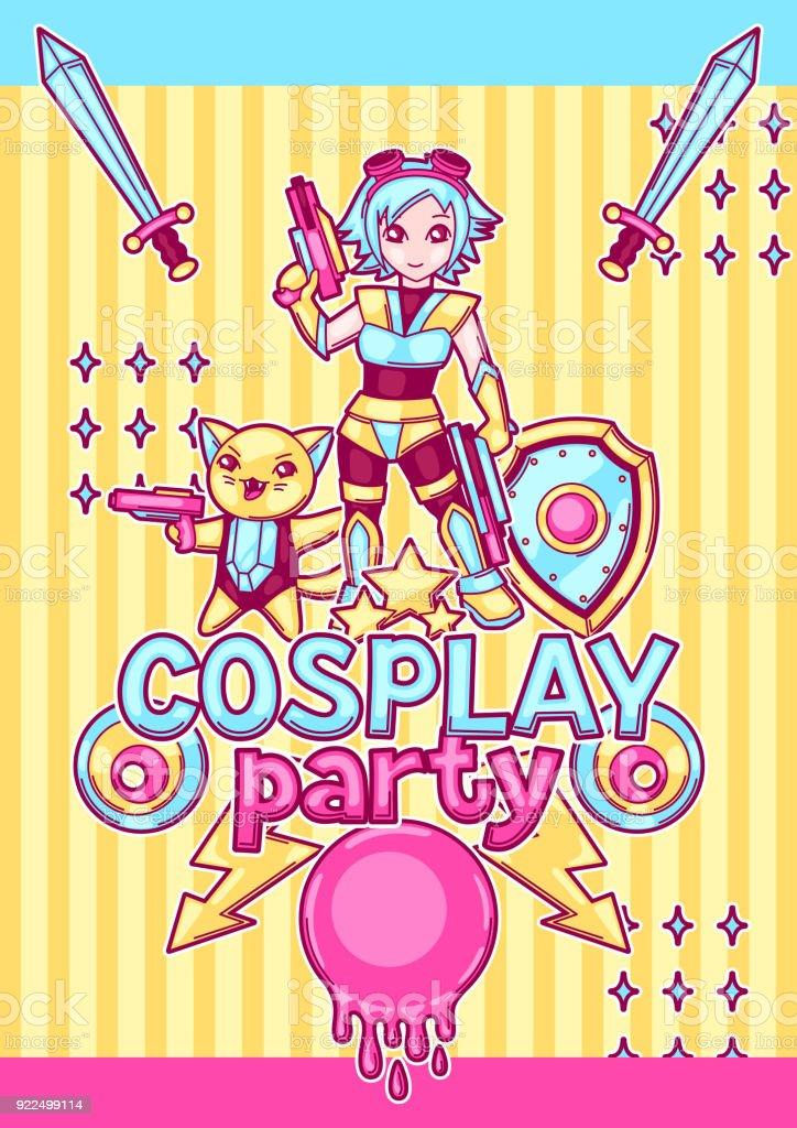 Ilustración de Invitación De Fiesta De Cosplay De Anime Japonés ...